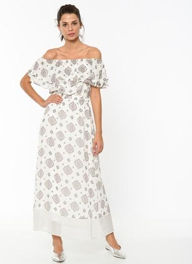 Only Kayık Yaka Desenli Uzun Elbise Beyaz
